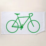 [ Thumbnail: Green Silhouette of a Bicycle Beach Towel ]