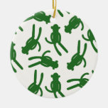 Green Silhouette Sock Monkey Ceramic Ornament