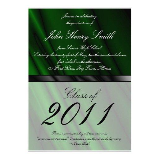 Green Silk 2 Graduation Invitation/Announcement