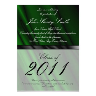 Green Silk 2 Graduation Invitation/Announcement Card