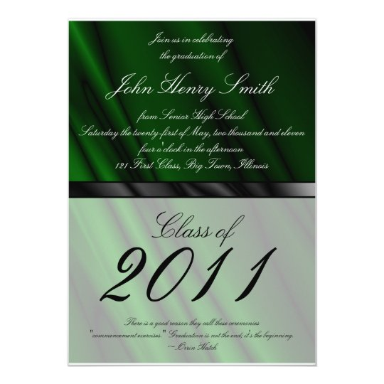 Green Silk 2 Graduation Invitation/Announcement Card