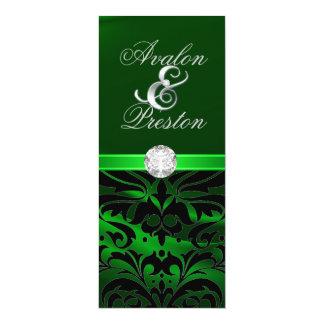 "Green Silk Diamond Black Damask Wedding Invitation 4"" X 9.25"" Invitation Card"