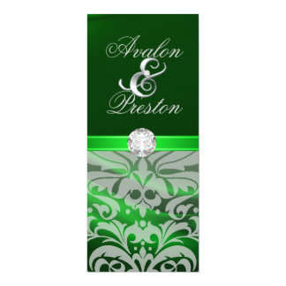 "Green Silk Diamond Damask Wedding Invitation 4"" X 9.25"" Invitation Card"