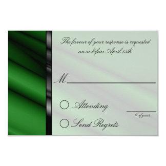 "Green Silk Reply Card 3.5"" X 5"" Invitation Card"