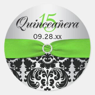 Green, Silver, Black Damask Quinceanera Sticker