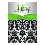 Green, Silver, Black Damask Sweet 16 Invitation