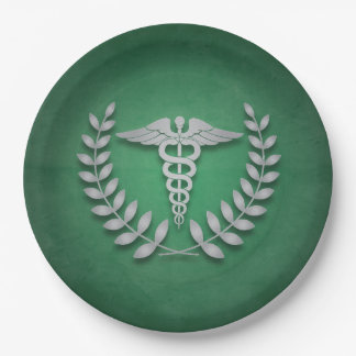Green + Silver Caduceus Medical Doctors Party Paper Plate