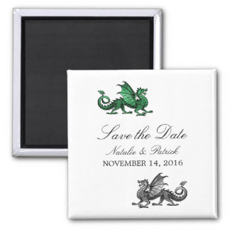 Green Silver Dragon Save the Date Magnet