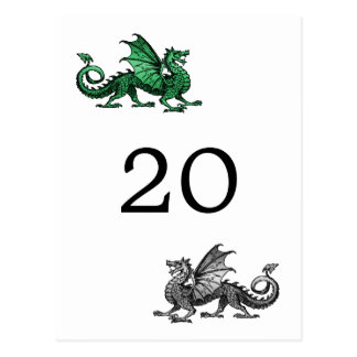 Green Silver Dragon Table Number Postcard