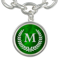 Green Silver Laurel Wreath Monogram Charm Bracelets