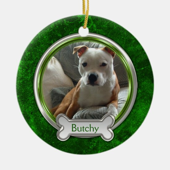 Green Silver Pet Photo Christmas Ornament