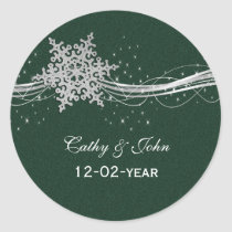green Silver Snowflakes wedding favor stickers