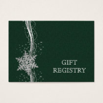 green Silver Snowflakes wedding gift registry Business Card