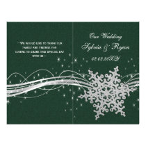 green Silver Snowflakes wedding programs folded