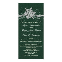 green Silver Snowflakes wedding programs length