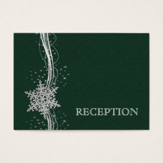 green Silver Snowflakes wedding reception invite