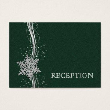 green Silver Snowflakes wedding reception invite