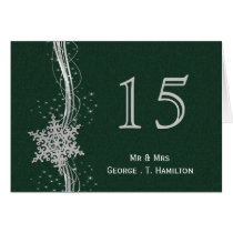 green Silver Snowflakes wedding table numbers Card