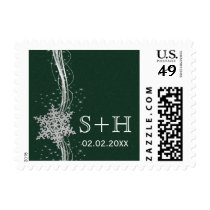 green Silver Snowflakes Winter personalized stamps