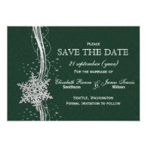 green Silver Snowflakes Winter  save the date Card