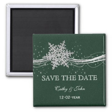 green Silver Snowflakes Winter save the Date Magnet