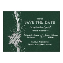green Silver Snowflakes Winter save the date Magnetic Card