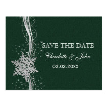 green Silver Snowflakes Winter save the Date Postcard