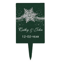 green Silver Snowflakes Winter wedding  cake picks