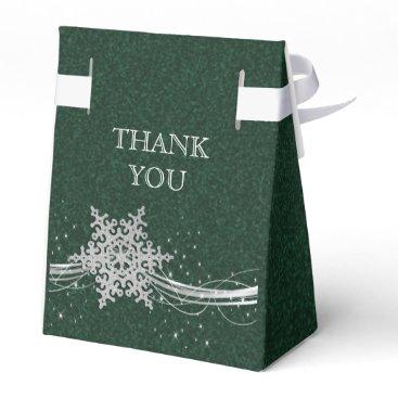 green Silver Snowflakes Winter wedding favor box