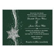 green silver Snowflakes Winter wedding invites by mgdezigns