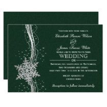 green Silver Snowflakes Winter wedding invitations