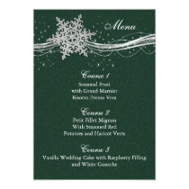 green Silver Snowflakes Winter wedding menu cards