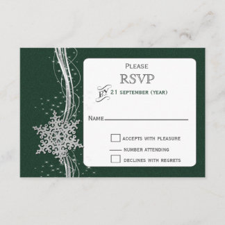 green Silver Snowflakes Winter wedding RSVP