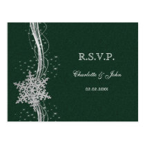 green Silver Snowflakes Winter wedding RSVP Postcard