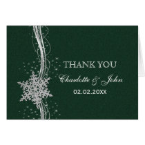 green Silver Snowflakes Winter wedding Thank You Card