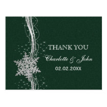 green Silver Snowflakes Winter wedding Thank You Postcard