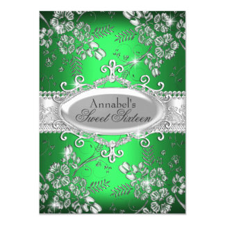 Green Silver Sparkle Flower Sweet 16 Invite
