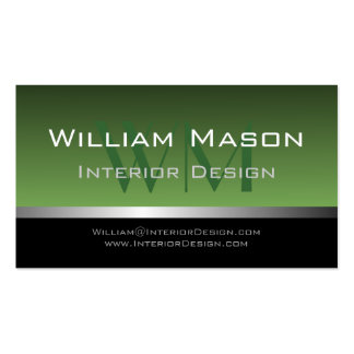 Green & Silver Stripe Professional Business Card