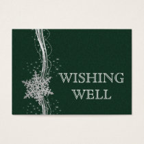 green SilverSnowflakes Winter wedding wishing well Business Card