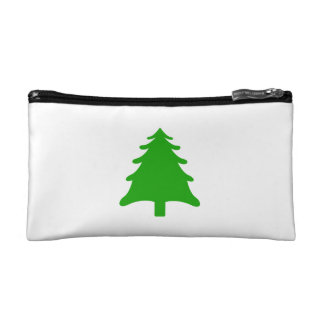 green simple christmas holiday tree cosmetic bags