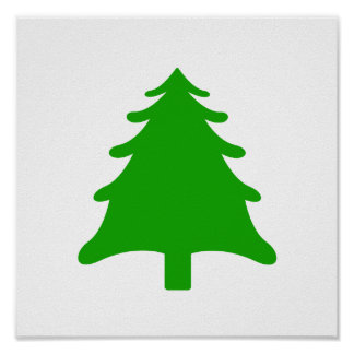 green simple christmas holiday tree poster
