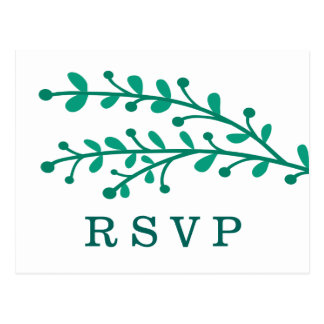 Green Simple Foliage Wedding RSVP Postcard