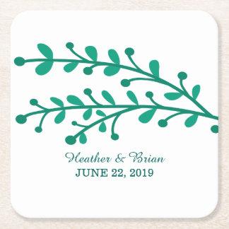 Green Simple Foliage Wedding Square Paper Coaster