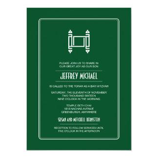 Green Simple Torah Bar Mitzvah Card