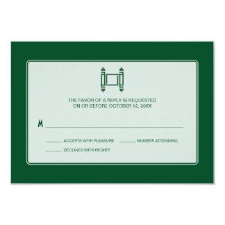 Green Simple Torah Bar Mitzvah RSVP Card