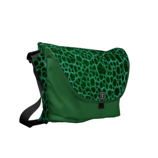 Green Simulated Leather Messenger Bags