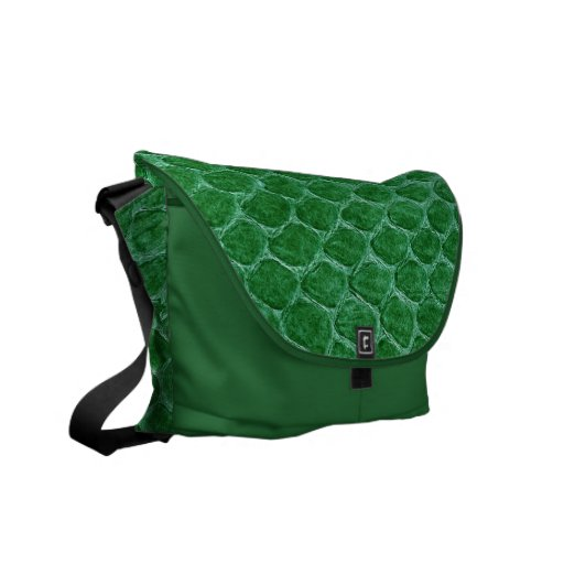 Green Simulated Snake Skin Courier Bags