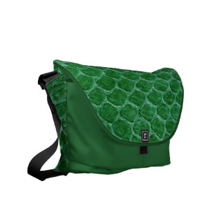Green Simulated Snake Skin Messenger Bags