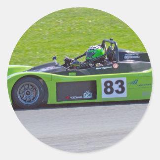 Green single seater race car classic round sticker