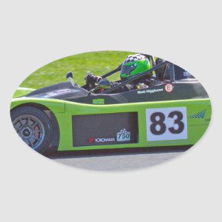 Green single seater race car oval sticker